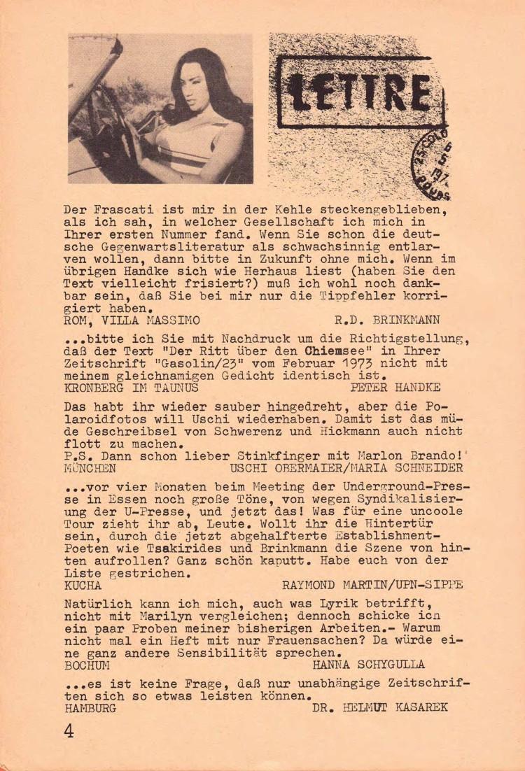 Fingierte Kommentare, u.a. von Rolf Dieter Brinkmann und Peter Handke, in Gasolin 23 (Nr. 2), April 1973