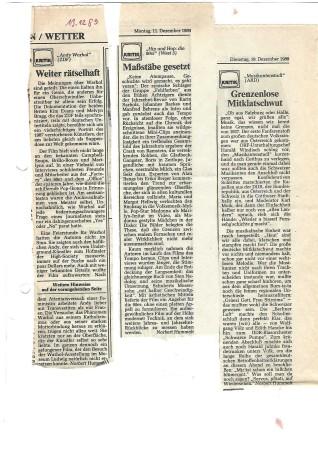 Norbert Hummelt: Drei Fernsehkritiken (1989)