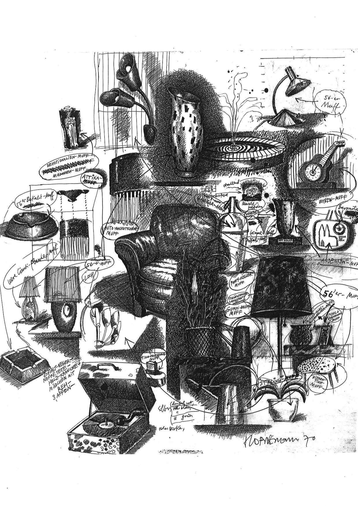 Thomas Hornemann, 50er Jahre - Muff, Tusche auf Papier, 1970