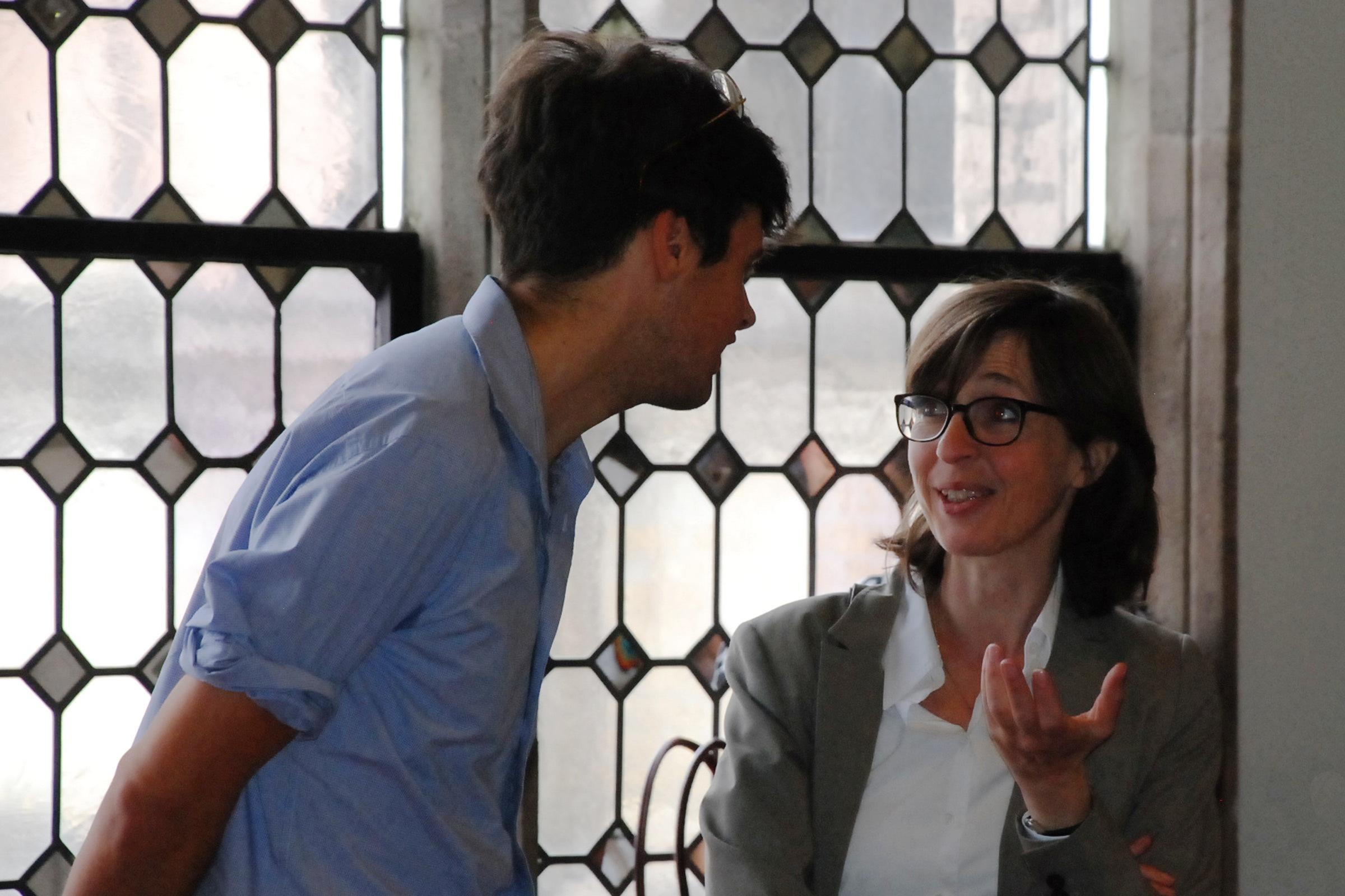 Sebastian Polmans, Brinkmann-Preisträger 2015, im Gespräch mit der Leiterin des Litaturhauses Köln Bettina Fischer