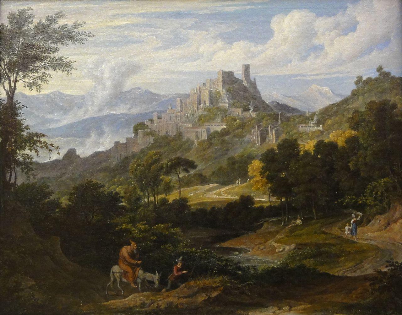 Joseph Anton Koch: Landschaft bei Olevano mit reitendem Mönch (um 1830)